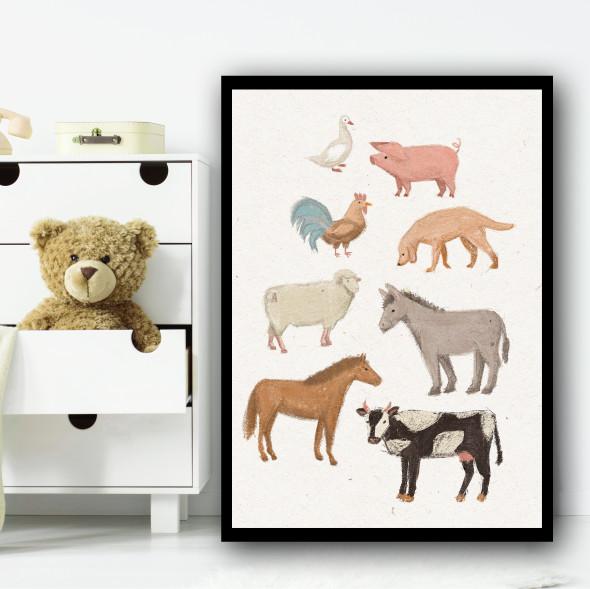 Farm Animals Drawing Simple Wall Art Print