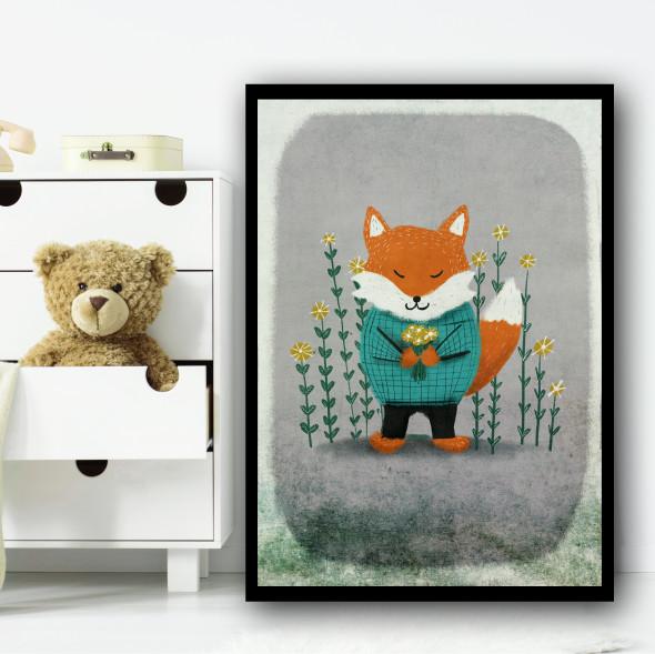 Fox Vintage Style Flowers Wall Art Print