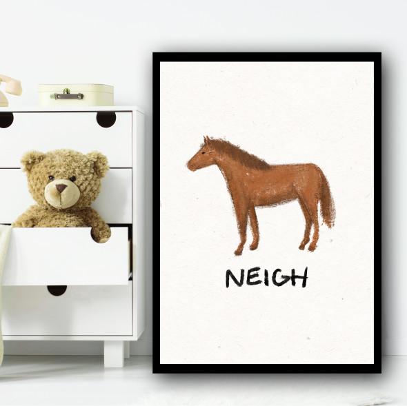 Horse Hand Drawn Simple Wall Art Print