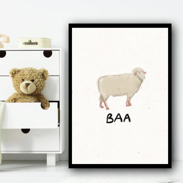 Sheep Hand Drawn Simple Wall Art Print