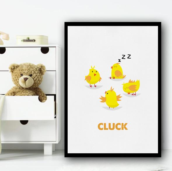 Chicks Simple Cartoon Wall Art Print