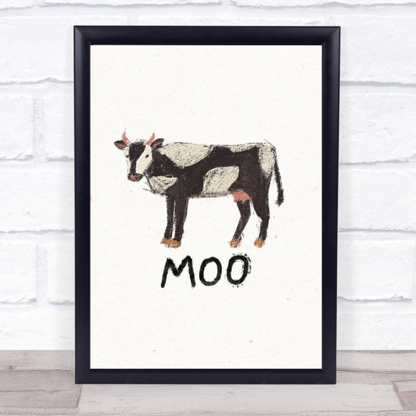 Cow Hand Drawn Simple Wall Art Print