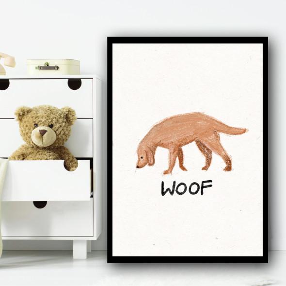 Dog Hand Drawn Simple Wall Art Print