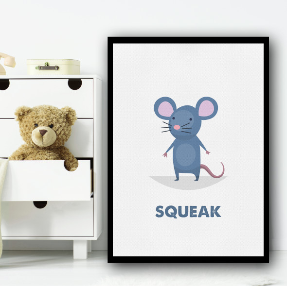 Mouse Cartoon Simple Wall Art Print