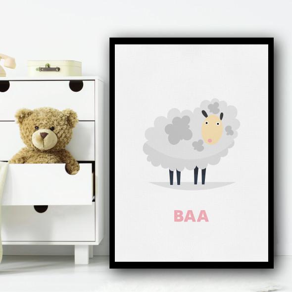 Sheep Cartoon Simple Wall Art Print