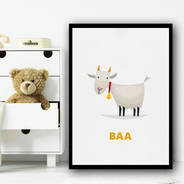 Goat Cartoon Simple Wall Art Print