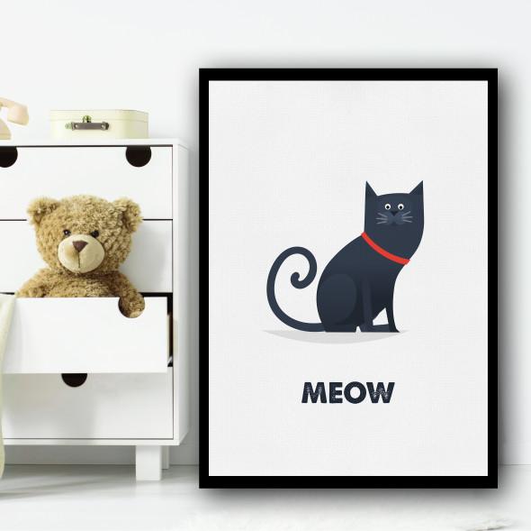 Cat Cartoon Simple Wall Art Print