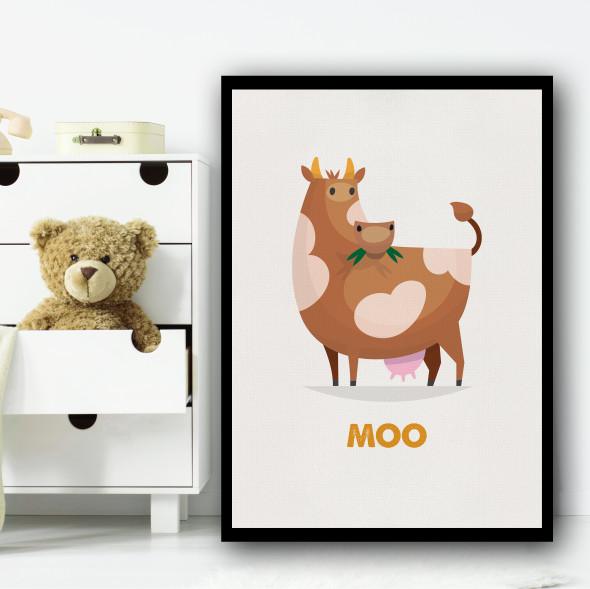 Cow Cartoon Simple Wall Art Print