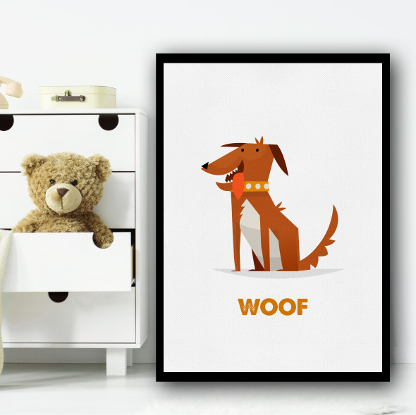 Dog Cartoon Simple Wall Art Print