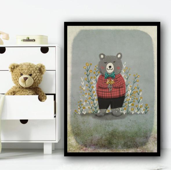 Bear Vintage Style Rustic Flowers Wall Art Print