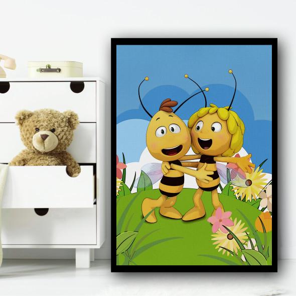 Maya The Bee Cartoon Colourful Wall Art Print
