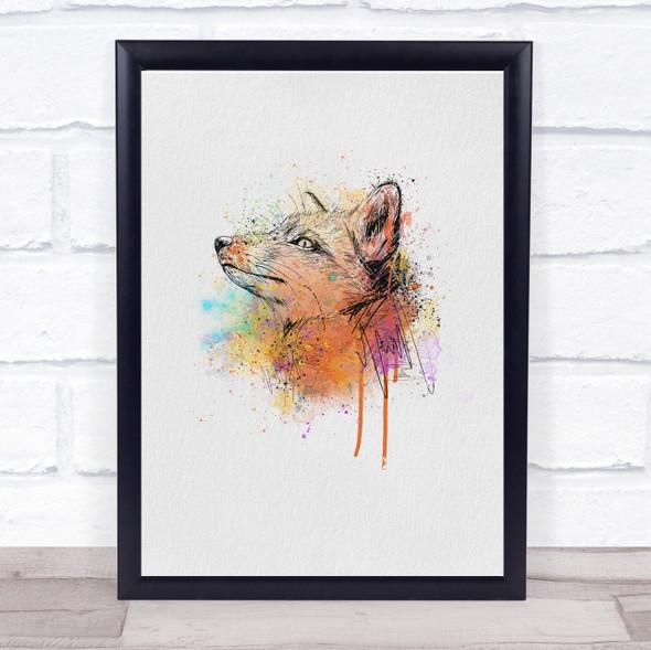 Fox Watercolour Splatter Drip Wall Art Print