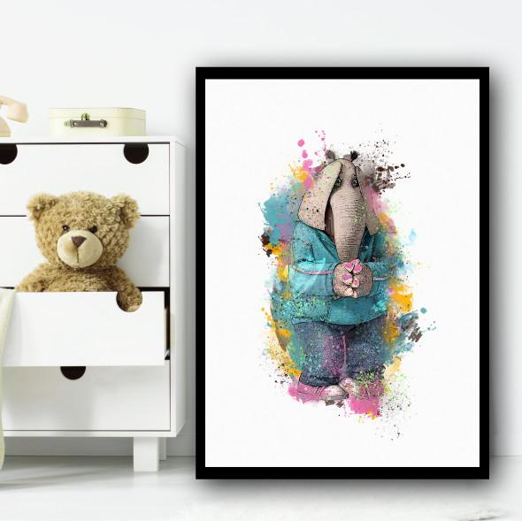Meena Elephant Sing Splatter Wall Art Print
