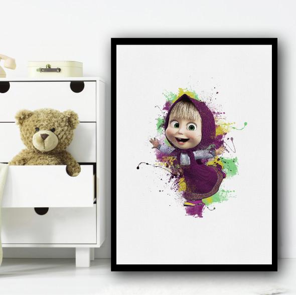 Masha And The Bear Splatter Wall Art Print