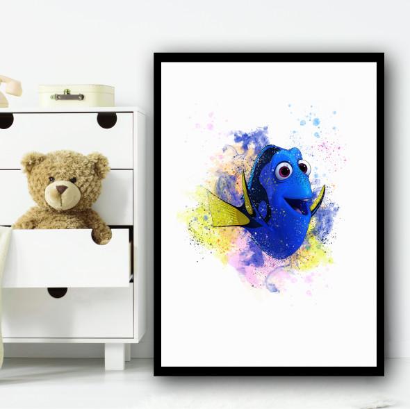 Dory Splatter Finding Nemo Wall Art Print