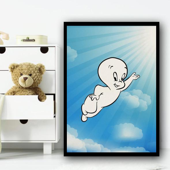 Casper The Ghost Clouds Wall Art Print