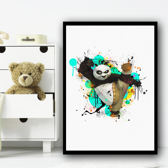Kung Fu Panda Splatter Wall Art Print