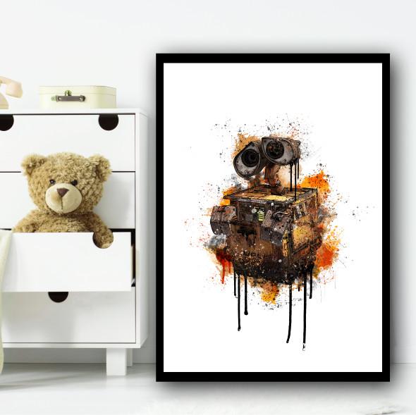 Wall-E Robot Splatter Wall Art Print
