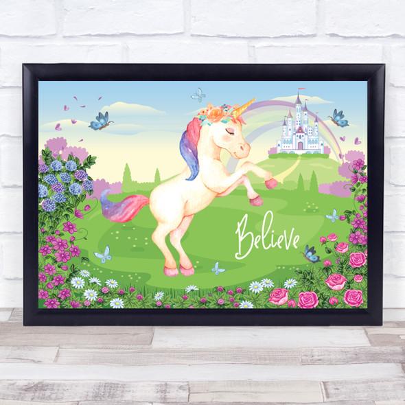 Magical Unicorn & Princess Castle Flowers Believe Wall Art Print