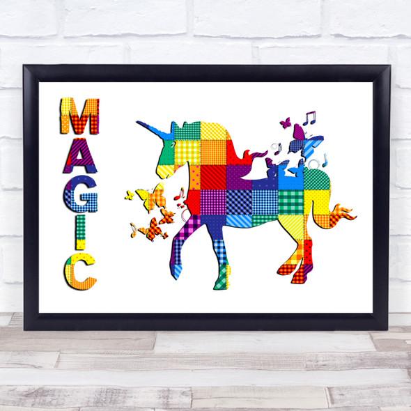 Patchwork Rainbow Unicorn Magic Wall Art Print