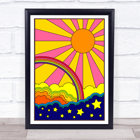Psychedelic Hippie Rainbow Sun Stars Cloud Wall Art Print