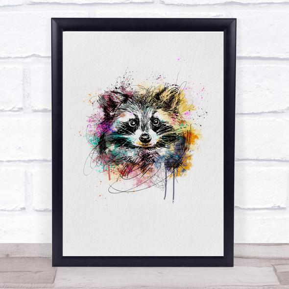 Raccoon Watercolour Line Art Splatter Drip Wall Art Print