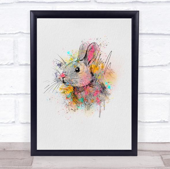 Rabbit Watercolour Line Art Splatter Drip Wall Art Print