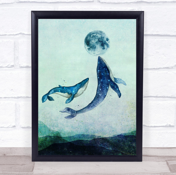 Whales And Moon Watercolour Rustic Wall Art Print