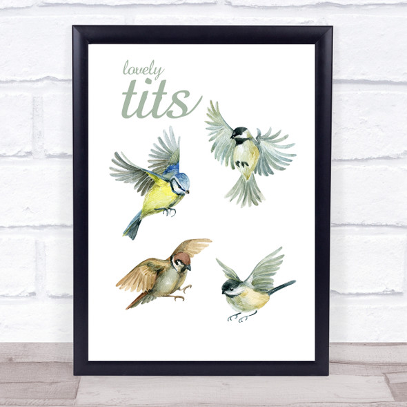 Funny Painted Birds Lovely Tits Wall Art Print