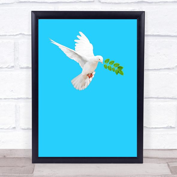 Watercolour Dove On Bright Blue Wall Art Print