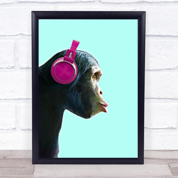 Cheeky Monkey Music Headphones Wall Art Print
