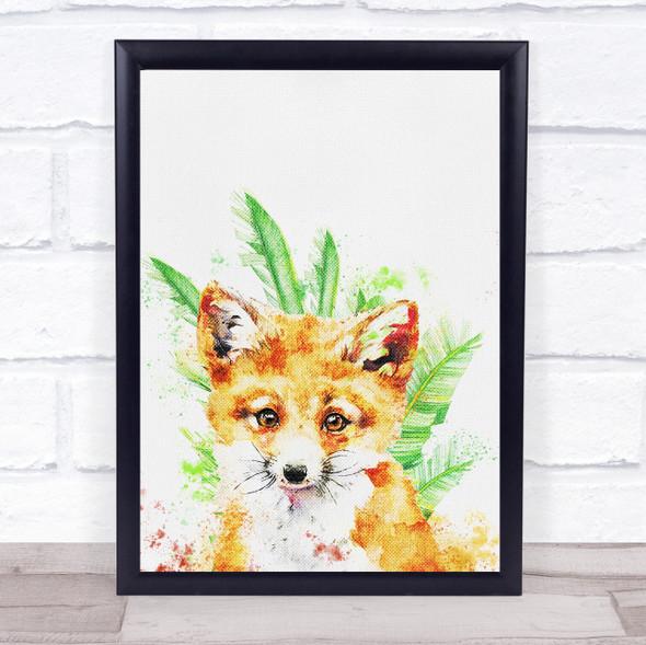 Fox Watercolour Texture Leaves Wall Art Print