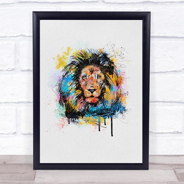 Lion Watercolour Splatter Drip Wall Art Print