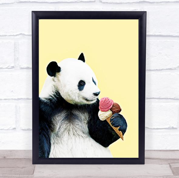 Relax Panda Yummy Ice-cream Wall Art Print