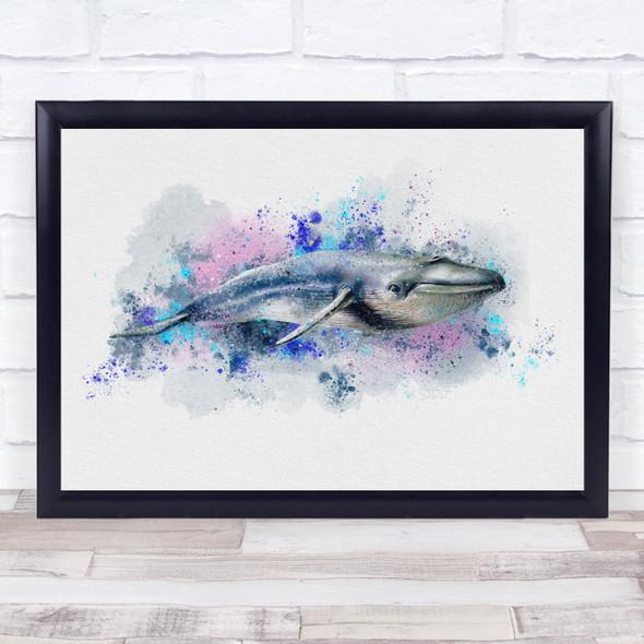 Whale Watercolour Splatter Wall Art Print