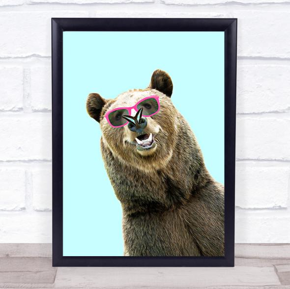 Chilling Bear & Butterfly Wall Art Print