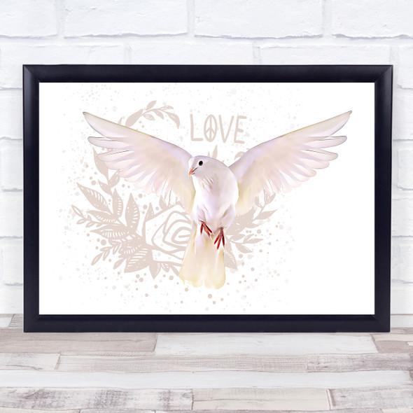 Dove Love Peace Rose Wall Art Print