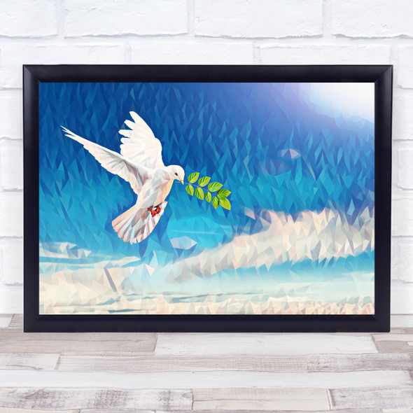 Peace Dove Polygon Wall Art Print