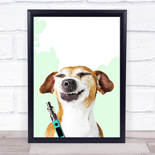 Cheeky Vaping Dog Wall Art Print