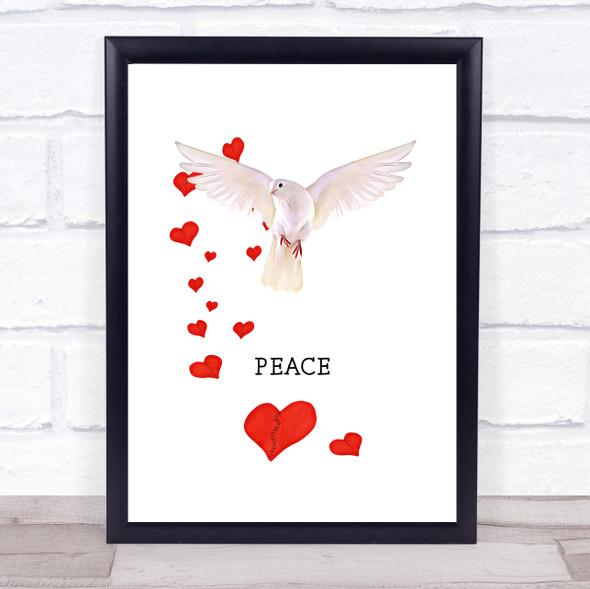 Dove Hearts Peace Wall Art Print