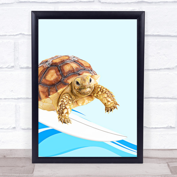 Surfing Turtle Wall Art Print