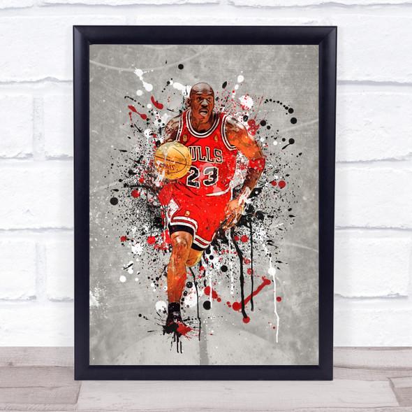 Michael Jordan Basketball Splatter Wall Art Print