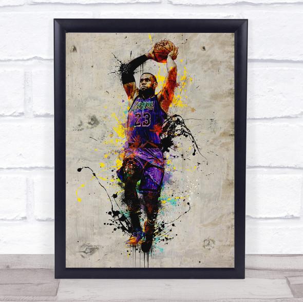 Lebron James Basketball Splatter Wall Art Print