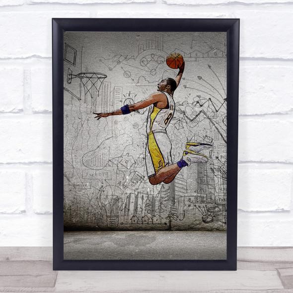 Kobe Bryant Basketball Sketch Wall Art Print
