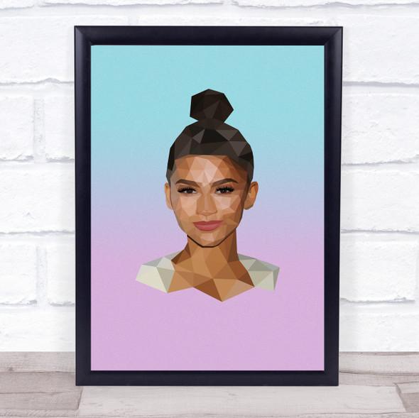 Zendaya Actress Polygon Wall Art Print