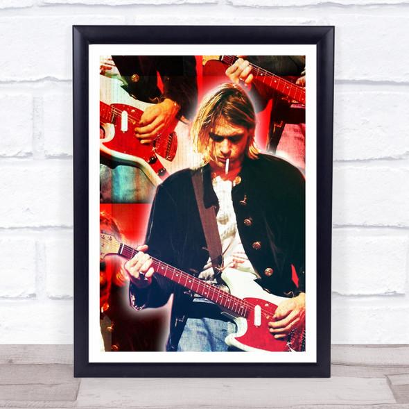 Kurt Cobain Red Grunge Wall Art Print