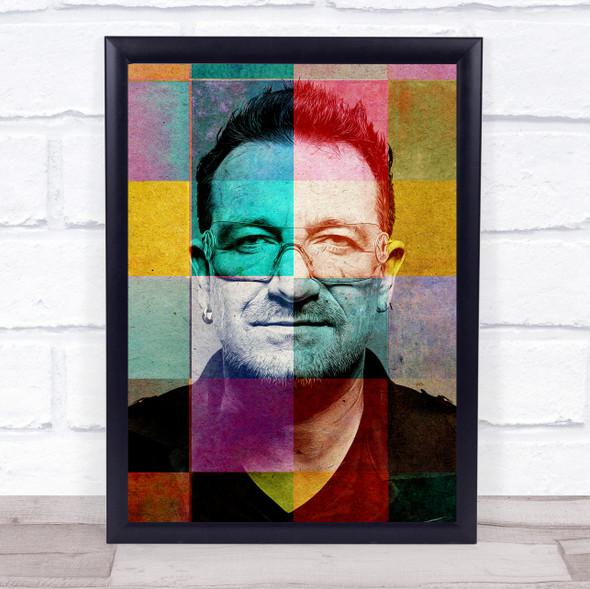 Bono Colourful Pop Art Wall Art Print