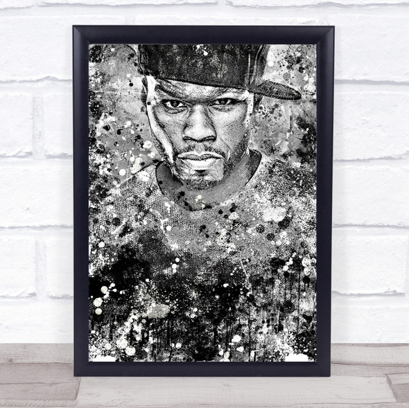 50 Cent Black & White Wall Art Print