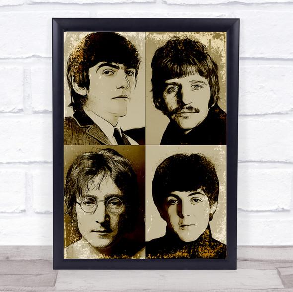 The Beatles Vintage 4 Wall Art Print