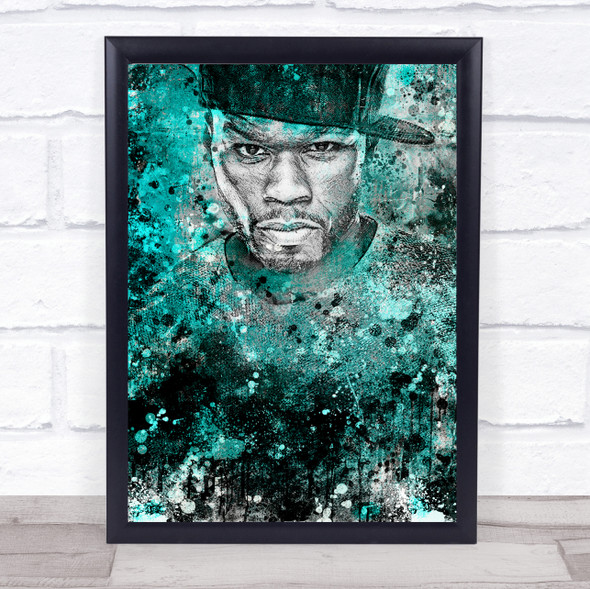 50 Cent Green Grunge Wall Art Print